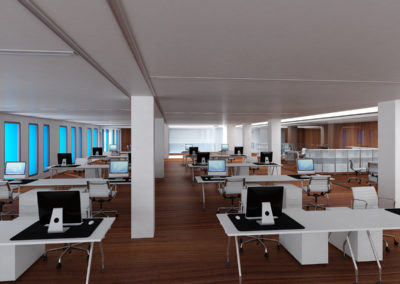 Infografia interior oficinas. Pablo Fernández Arquitecto